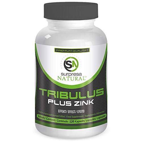 Surpresa Natural® - Tribulus Plus Zink - 120 hochdosierte Kapseln | 100{bb1d04db8a25c227d7ad84816b55a77cd1a4aceabb4565edbab2305d5d0e8bd3} gesunder & natürlicher Muskelaufbau | Tribulus Terrestris Extrakt | Nahrungsergänzung für Libido & Muskulatur