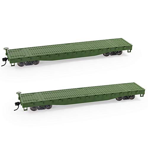 C8741 2pcs HO Scale 1:87 52' Flat Car Flatbed Transporter 52ft Model Train Container Carriage Freight Car (Army Green)