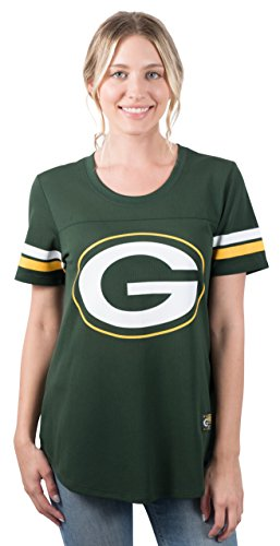 Ultra Game NFL Green Bay Packers Womenss Soft Mesh Jersey Varsity Stripe Jock Tag Crew Neck Tee Shirt Top, Team Color, Large
