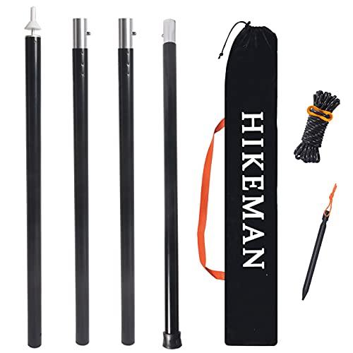 HIKEMAN タープポール ポール テントポール アルミ製 分割式 直径33mm 調節可能 4節連結 超軽量 ジョイント式 総長140-280cm 1本/2本入り ペグロープ付き 収納袋付き (ブラック1本)