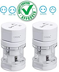 CASON (DEVICE OF C)-Pack of 2- World Travel Adapter Universal Ports Adaptor with Surge Protectector All in One Plug International Worldwide Adapter with Pouch