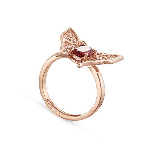 SWEETIEE anillo de dedo de 925 plata de esterlina de turmalina roja naturale, mariposa, chapado en oro rosa, 18mm(adjustable)
