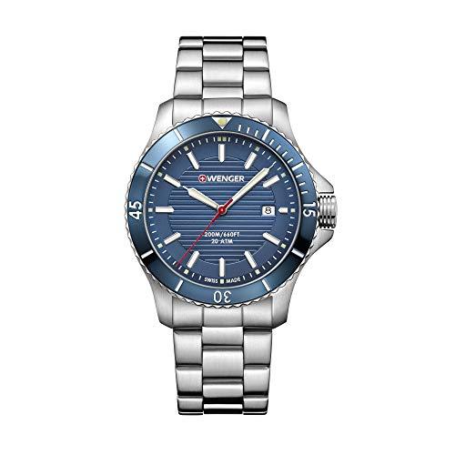 Wenger Hombre Seaforce - Reloj de Acero Inoxidable/Cuero de Cuarzo analógico de fabricación Suiza 01.0641.120