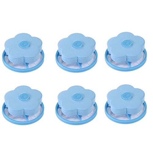 6pcs sac de filtre de charpente de machine à laver,veyikdg lessive maille cheveux Catcher Floating Ball Pouch 15x8cm Sacs de lavage pour épilation gadget ménage réutilisable outil nettoyage (Bleu)