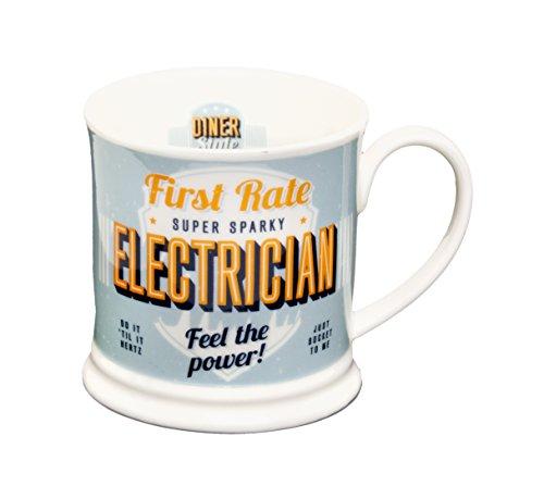 "Product Image 1: Diner Mugs ref:049 ""Electrician"" Mug, Pale Blue"