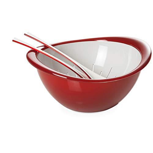 Omada Design Bol passoire et couverts à salade (3 pièces), 26 cm de diamètre, ergonomique et par le design innovant, intérieur blanc et bord extérieur coloré, Ligne Trendy,Rouge