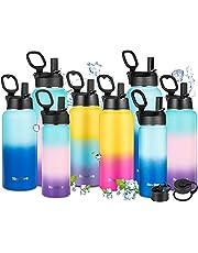 Newdora Botella de Agua Deportiva de Acero Inoxidable sin BPA Reutilizable a Prueba de Fugas Aislamiento al Vacío de Doble Pared Botella Agua Térmica con 3 Tapas para Deportes,Gimnasia,Café,etc.