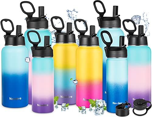 Newdora Botella de Agua Deportiva de Acero Inoxidable sin BPA Reutilizable a Prueba de Fugas Aislamiento al Vacío de Doble Pared Botella Agua Térmica de 950ml con 3 Tapas para Deportes,Gimnasia