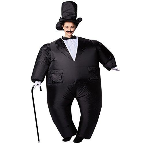 dressforfun Costume autogonfiabile da Smoking Unisex | Gonfiabile in pochi Secondi | Massima libertà di Movimento | Alimentazione a Batteria