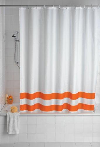 WENKO 19243100 Duschvorhang Tropic Orange - waschbar, mit 12 Duschvorhangringen, Kunststoff - Polyester, Weiß