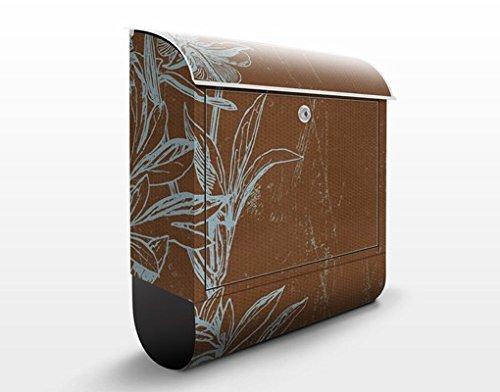 Buzón de diseño Blue Flower Study 39x46x13cm, acero inoxidable, buzón, diseño buzón, postbox, diseño de correos con compartimento para periódicos, caja, Tamaño: 46cm x 39cm