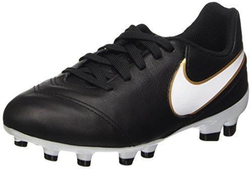 Nike Tiempo Legend VI FG Jr Unisex-Kinder Fußballschuhe, Schwarz (Schwarz/Weiß/Gold), 35.5 EU