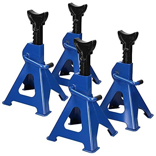 ECD Germany Unterstellböcke 4er Set, Traglast 3t 3000 kg, 9-Fach höhenverstellbar von 280 bis 425 mm, aus Stahl, Blau, für Auto KFZ PKW, Stützböcke Abstellböcke Wagenheber Heber Stützen Wagenbock