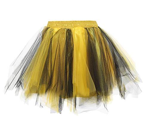 Reyoust Kinder Tutu 80er Jahre Kostüme Ballet Tüllrock Karneval Petticoat Neon Farben Schwarz Gold