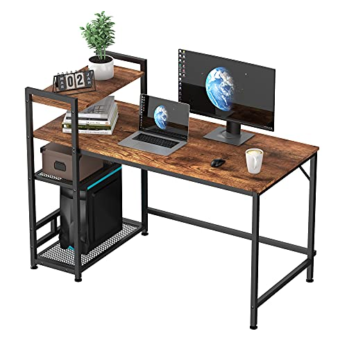 HOMIDEC Computer Desk, Computer Desk with Bookshelf, Study Computer Laptop Table with 4 Tier DIY Storage Shelves Writing Table for Home Office Bedroom, 120x60x110cm