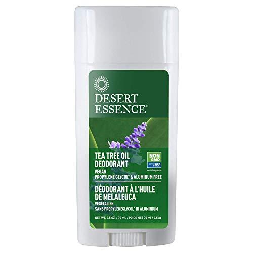 Desert Essence Tea Tree Oil Deodorant - 2.5 Oz - Long Lasting - Propylene Glycol & Aluminum Free - Neem, Lavender, Chamomile - Neutralizes Odor - Citrus Scent - Skin Protection - Antiseptic