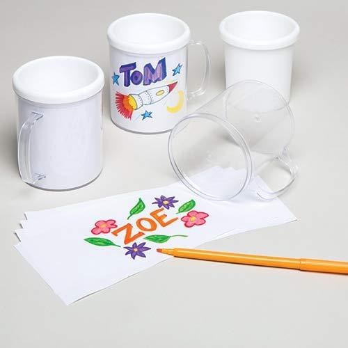 Baker Ross Blanco plastic beker (2 stuks) om kinderen te beschilderen of met een lievelingsfoto te versieren.