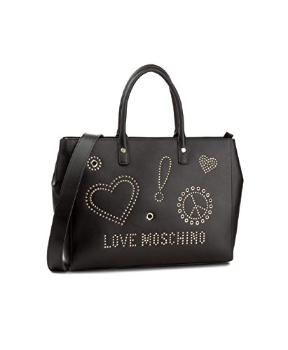 Love Moschino Sign & Studs shopping bag black