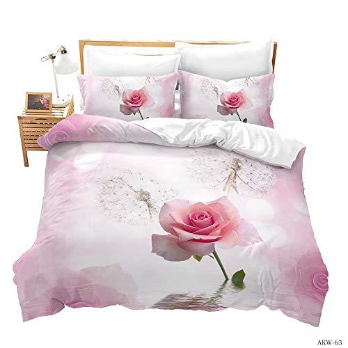Zyttao Funda de Almohada con Funda nórdica con Estampado de Flores en 3D, Familia, la Novia, Decorar el Dormitorio, la Mejor Ropa de Cama-8_260 * 230cm3 (Piezas)