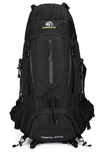 Weikani Hiking Backpack 65+5L with Internal Frame For Men Women, High-Performance Backpack for Travel, Camping, Backpacking Mountaineering (Black)