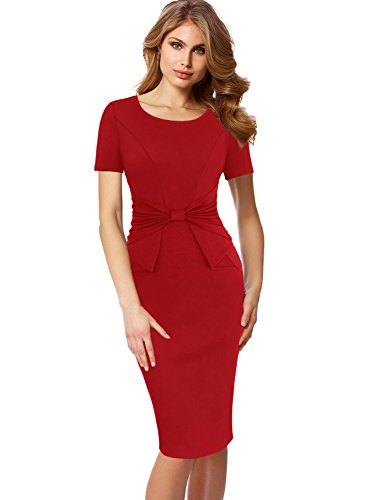 VFSHOW Womens Pleated Bow Wear to Work Business Office Church Sheath Dress 321 RED L