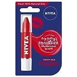 Nivea Labial Bálsamo Crayon Poppy Red (3 g), Intensivo Color Labial para Labios Suave Besable, Crayón Hidratante Labial Rojo Amapola Pintalabios con Aceites Naturales