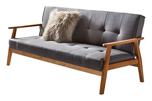 Unbekannt SalesFever Sofa Schlafsofa 190x85x81 cm dunkelgrau Webstoff Webstoff, Massivholz L = 190 x B = 85 x H = 81 dunkelgrau