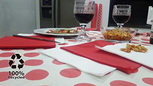 bissu - Mantel de Papel Damascado Desechable Antimanchas para Mesas de Comedor y Cocina Rectangulares de Colores   Rollo de 25 x 1.18 Metros. Biodegradable (Blanco con Lunares Rojos)