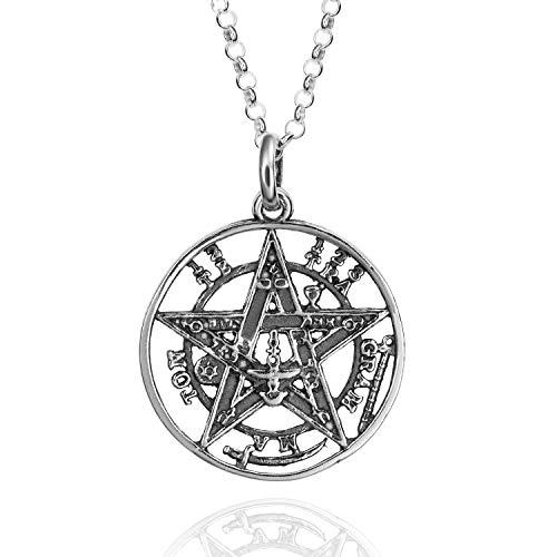 Colgantes Tetragramaton Plata De Ley 925, Amuletos De La Suerte Y De La Protección. Pentagrama Colgante Hombre Y Mujer. Colgante De Plata En Tres Dimensiones 15 - 25 Y 30 mm De Diametro. (25 mm)