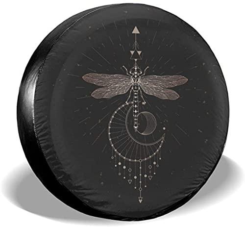 Dragonfly - Cubierta para llanta de repuesto con símbolo geométrico,poliéster,universal,de 15 pulgadas,para llantas de repuesto para remolques,casas rodantes,SUV,ruedas de camiones,camiones,autocarav