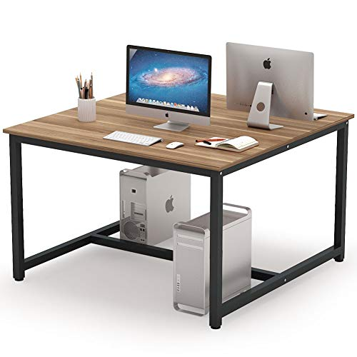 Tribesigns Computer Desk, 47 x 47 inch Extra Large Two Person Desk Double Workstation Office Desk Writing Study Desk for Home Office (Dark Walnut)