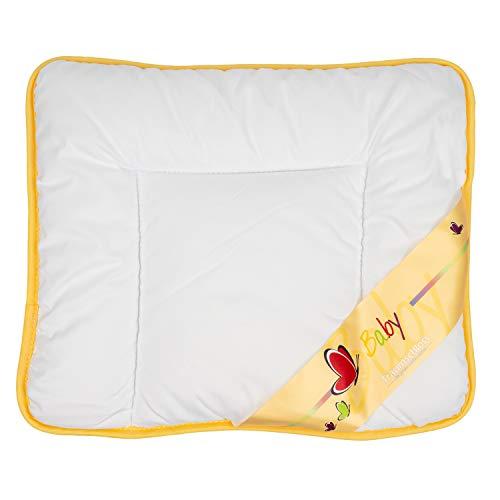 Traumschloss Baby Kinder Flach Kopfkissen | Weiß | kuschelig weicher Bezugsstoff | atmungsaktive Faserfüllung | bis 95° C waschbar | 35 x 40 cm