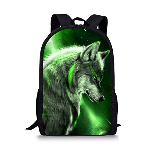 Thikin Wolf Animal School Backpack with Padded Straps 3D Cartoon Student Stylish Unisex Daypack for Boys Girls School Book Bags