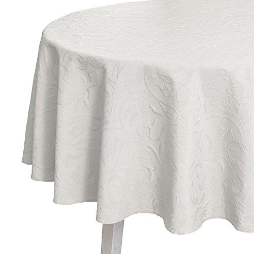 Pichler CORDOBA_170_BW hochwertig und bügelfrei - Tischdecke rund 170 cm brillantweiß