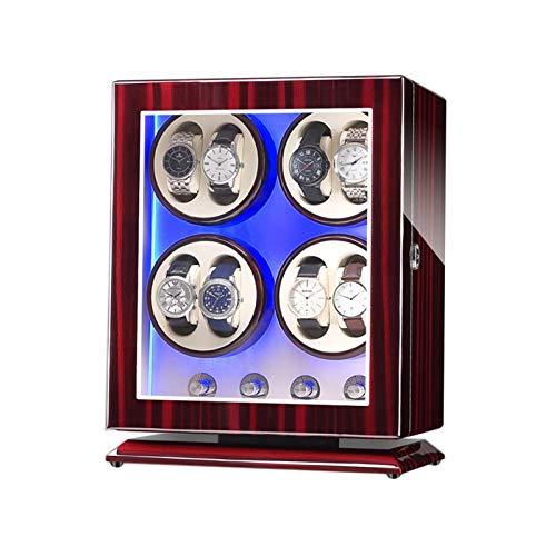 Cajón para Guardar Relojes y Joyas Reloj Caja de Winder para 8 Relojes automáticos, con luz LED Azul, 4 Modos de rotación, Motores, en Forma de Lady y Relojes. Estuche de Almacenamiento de Lujo
