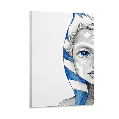SSKJTC Bedroom Painting Art Wall Star War Pencil Ahsoka Tano Drawings Half-Face PaintingsOnCanvas 24x36inch(60x90cm)