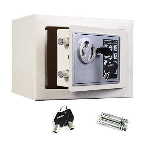 Cassaforte a comando digitale con serratura elettronica Keppad con 2chiavi override di sicurezza, per la casa, l'ufficio, capacità: 4,6l/8,5l/16l, nero/bianco/grigio, bianco