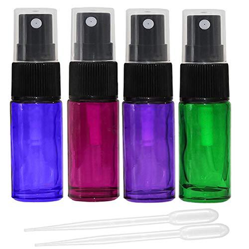 JamHooDirect - 8 botellas de espray de cristal vacías con pulverizador de niebla fina, recargables, 5 ml, incluye 2 goteros para aceites esenciales o fragancia nocturna