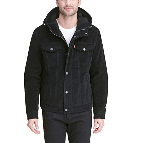 Levi's Men's Corduroy Sherpa Hooded Trucker Jacket, Black, XX-Large