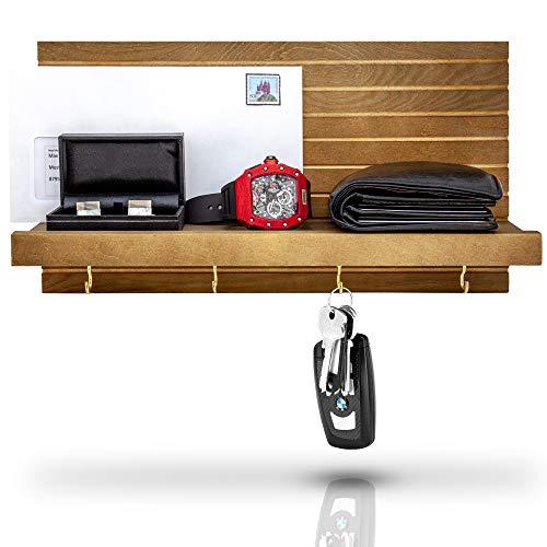 Blackforhome Schlüsselbrett Vintage Stil Schlüsselboard Schlüsselhalter mit Ablage aus Holz Kiefernholz Schlüssel Organizer