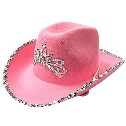Ruluti 1pc Estilo Occidental del Sombrero De Vaquero del Sombrero De Vaquero del Brillo Country Ranch Vestido De Fiesta Rosa del Sombrero De Fiesta