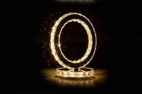 HLY Luces simples, lámpara de luz Elegante en forma de corazón Lámparas de escritorio de cristal cromado moderno Lámpara de mesa de mesita de noche para dormitorio redonda Blanco frío Blanco cálido (