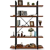 5 Tier Bookcase Bookshelf, Open Storage Display Shelf 6 Foot Tall Etagere Bookshelf, Black Metal and Wooden Look Industrial Bookcase, Free Standing Shelving Unit-Warm Vintage Brown