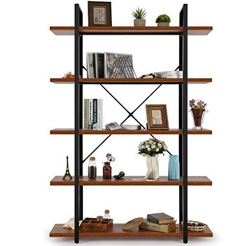 kinsuite 5-Tier Bamboo Free Standing Storage Rack Shelf Multifunctional Bamboo Shelving Unit Bathroom Kitchen Living Room Holder