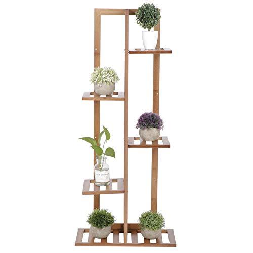 Étagère à Fleurs en Bambou, Porte Plante en Bambou, Étagère Plantes de 5 Niveaux pour Intérieur ou Extérieur - Support à Plantes pour Maison Jardin Balcon Terrasse Bureau - 44x30x102cm