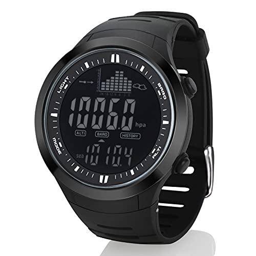 AMYSPORTS Men Outdoor Fishing Watches Waterproof Hiking Digital Watch Sport Altimeter Black Barometer Watch Outdoors Fishing Rugged Strap