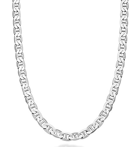 Miabella Solid 925 Sterling Silver Italian 3mm, 4mm, 6mm, 7mm Diamond-Cut Solid Flat Mariner Link Chain Necklace for Women Men, 16-30 Inch Made in Italy (22, 6mm)