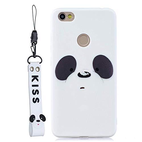 Huiran Funda Silicona para el [Xiaomi Redmi Note 5A] Panda de Dibujos Animados en 3D con Cordón Carcasa para Xiaomi Redmi Y1 para Mujeres y Niños - Blanco