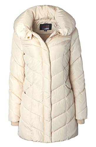 Sportoli Womens Winter Fleece Lined Chevron Quilted Puffer Jacket Coat with Hood - Ivory (Size 3X)