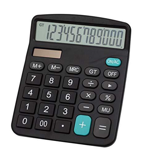 Meichoon Grande Calculadoras Básicas Oficina Dual Power Pantalla de 12 dígitos Batería Solar Financiera Dedicada Función Estándar Calculadora Comercial Escritorio Máquina de Cálculo Negro KA08
